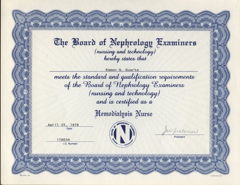 certified by the board of nephrology examiners in nephrology nursing